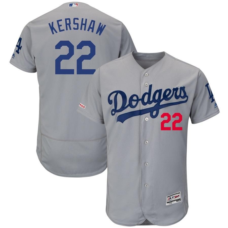 Dodgers 22 Clayton Kershaw Gray 150th Patch Flexbase Jersey