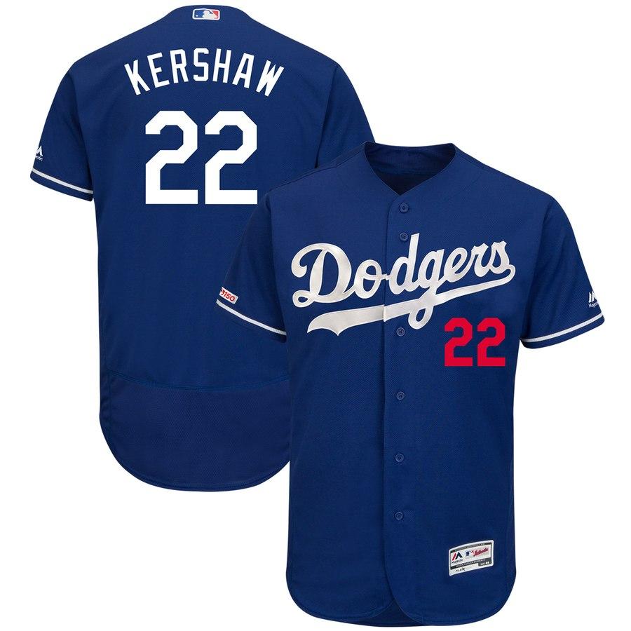 Dodgers 22 Clayton Kershaw Royal 150th Patch Flexbase Jersey