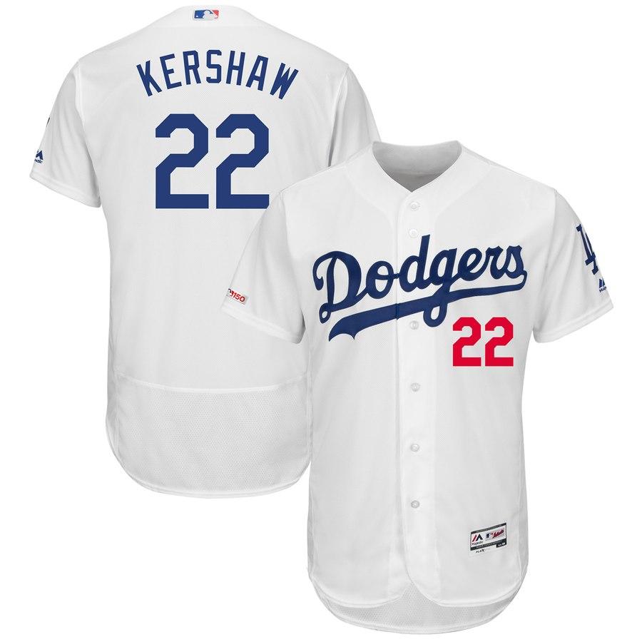 Dodgers 22 Clayton Kershaw White 150th Patch Flexbase Jersey