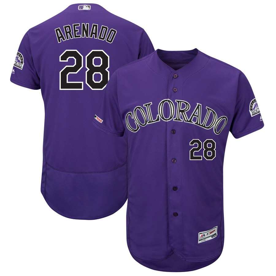 Rockies 28 Nolan Arenado Purple 150th Patch Flexbase Jersey