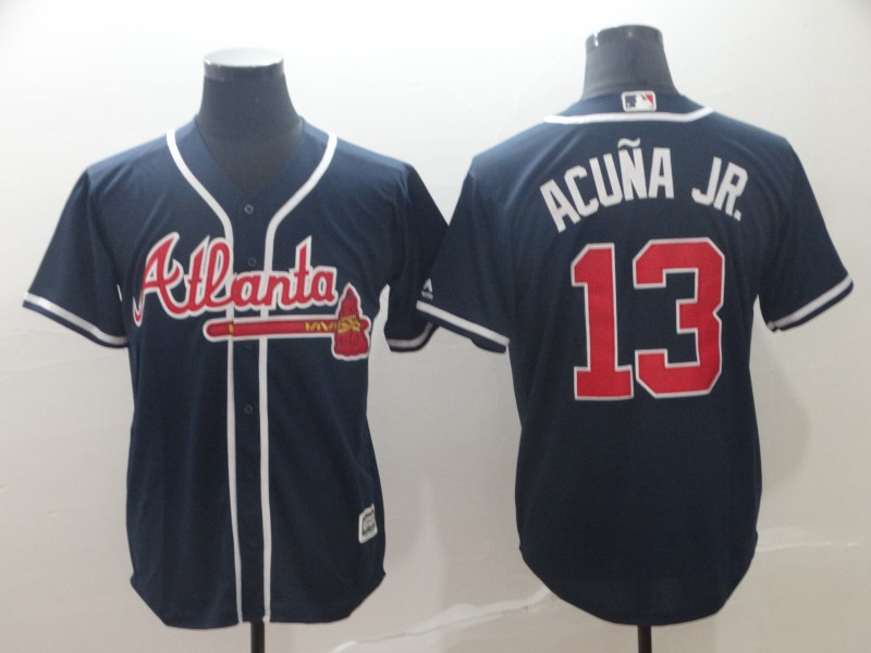 Braves 13 Ronald Acuna Jr. Navy Cool Base Jersey