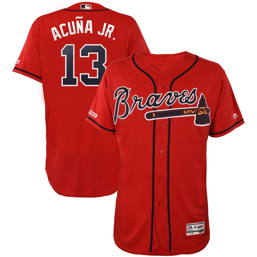 Braves Ronald Acuna Jr Scarlet 150th Patch Flexbase Jersey