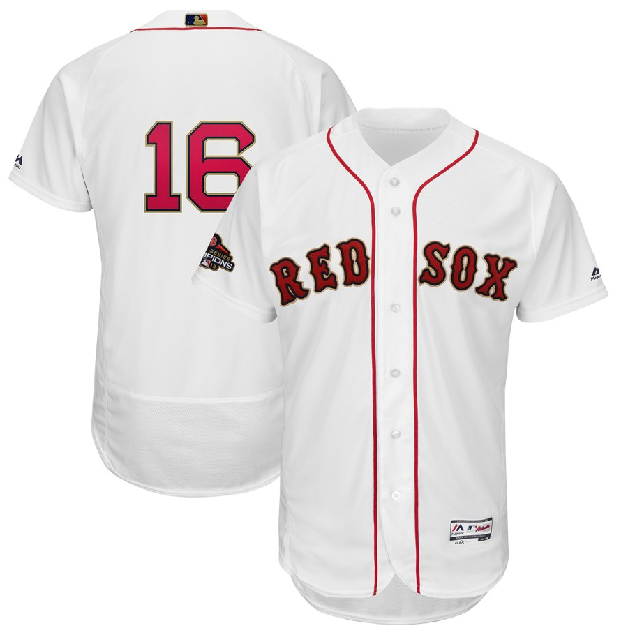 Red Sox 16 Andrew Benintendi White 2019 Gold Program FlexBase Jersey