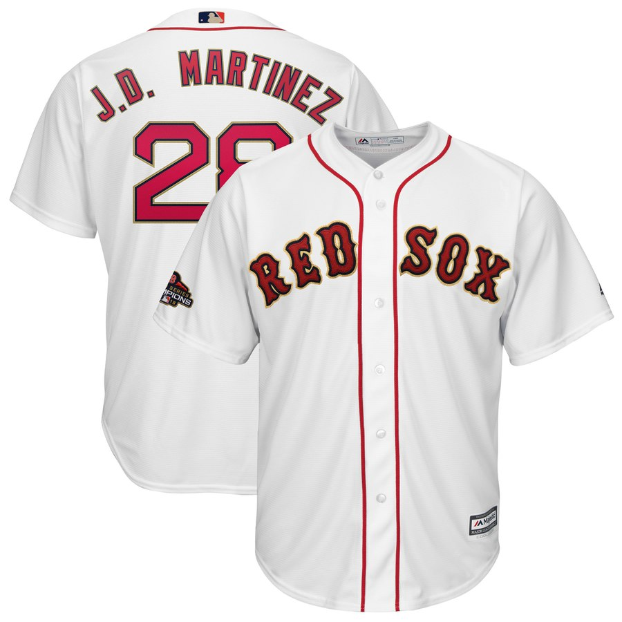 Red Sox 28 J.D. Martinez White 2019 Gold Program Cool Base Jersey