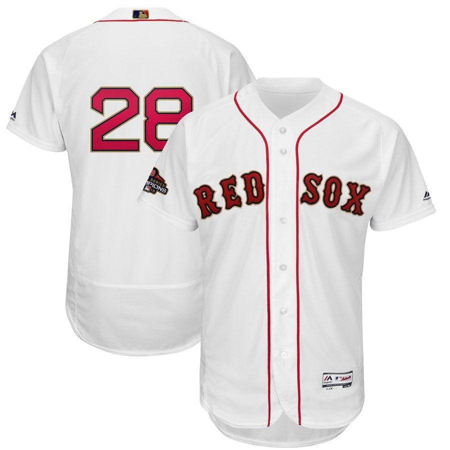 Red Sox 28 J.D. Martinez White 2019 Gold Program FlexBase Jersey