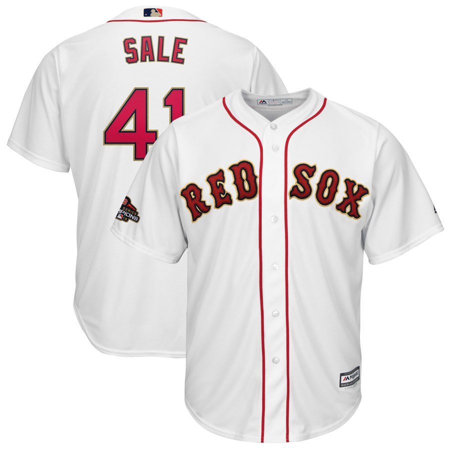 Red Sox 41 Chris Sale White 2019 Gold Program Cool Base Jersey