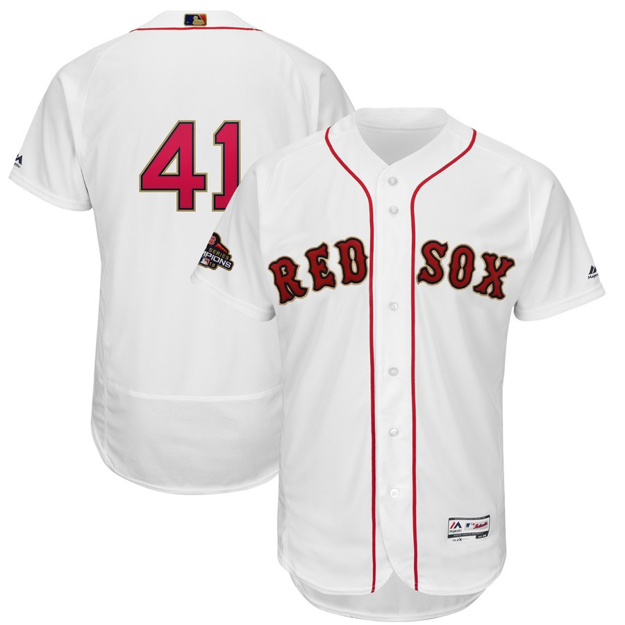 Red Sox 41 Chris Sale White 2019 Gold Program FlexBase Jersey