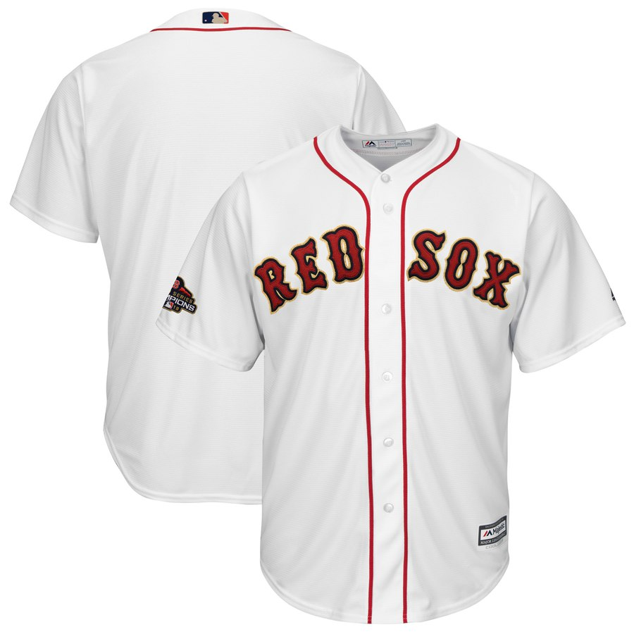 Red Sox Blank White 2019 Gold Program Cool Base Jersey