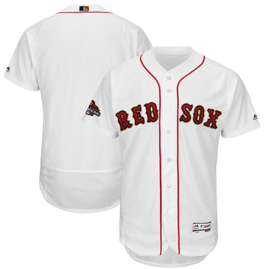 Red Sox Blank White 2019 Gold Program FlexBase Jersey