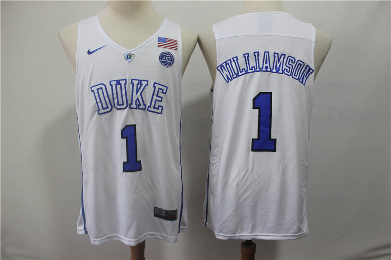 Duke Blue Devils 1 Zion Williamson White College Basketball Jersey