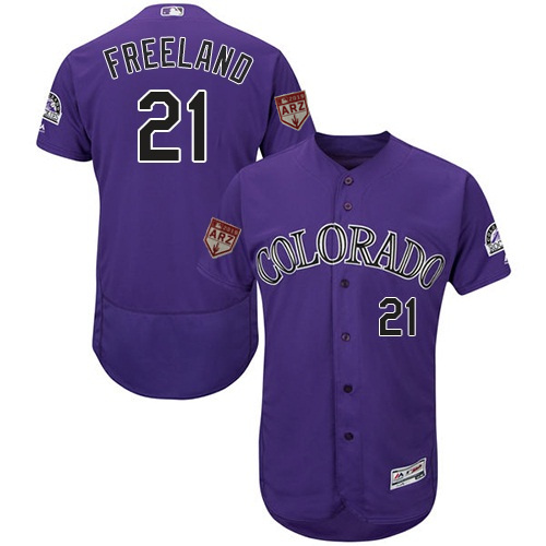 Rockies 21 Kyle Freeland Purple 2019 Spring Training Flexbase Jersey