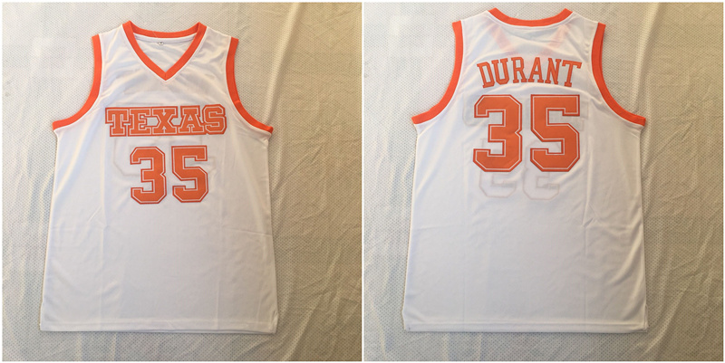 Texas Longhorns 35 Kevin Durant White Stitched College Basketball Jersey