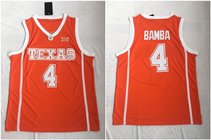 Texas Longhorns 4 Mohamed Bamba Orange Stitched College Basketball Jersey