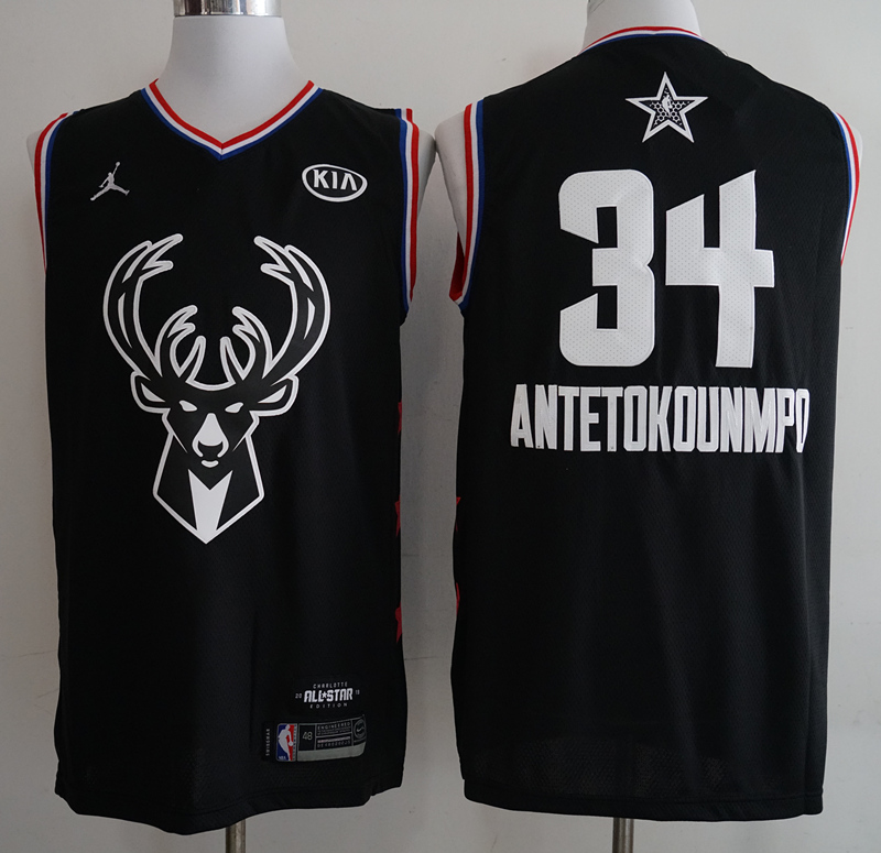 Bucks 34 Giannis Antetokounmpo Black 2019 NBA All-Star Game Jordan Brand Swingman Jersey