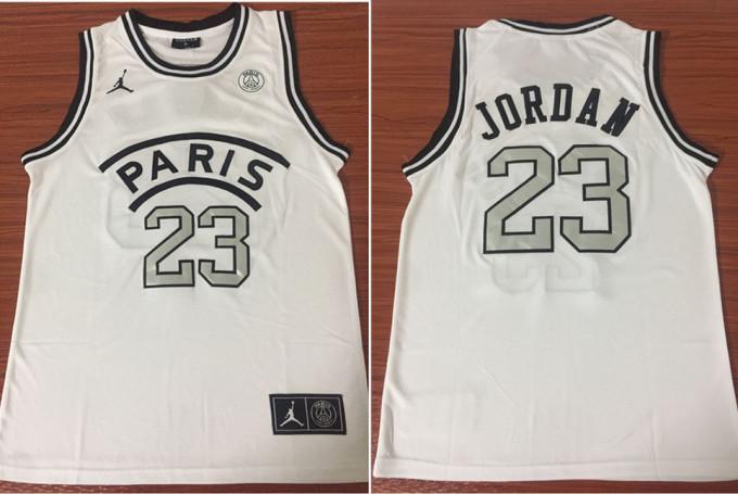 Paris Saint-Germain 23 Michael Jordan White Fashion Jersey