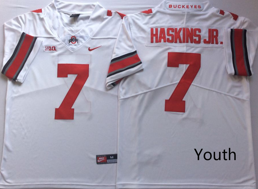 Ohio State Buckeyes 7 Dwayne Haskins Jr. White Youth College Football Jersey