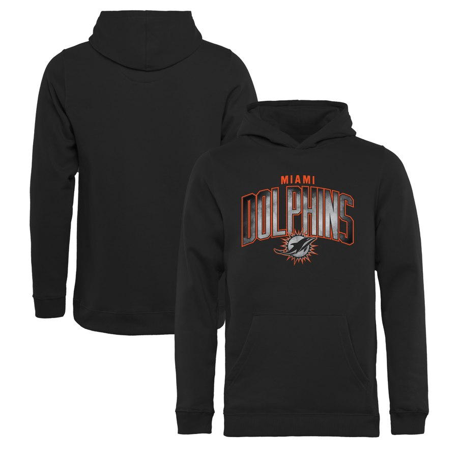 Miami Dolphins NFL Pro Line by Fanatics Branded Youth Arch Smoke Pullover Hoodie Black