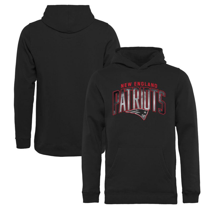 New England Patriots NFL Pro Line by Fanatics Branded Youth Arch Smoke Pullover Hoodie Black