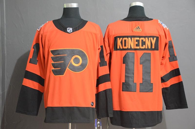 Flyers 11 Travis Konecny Orange 2019 NHL Stadium Series Adidas Jersey