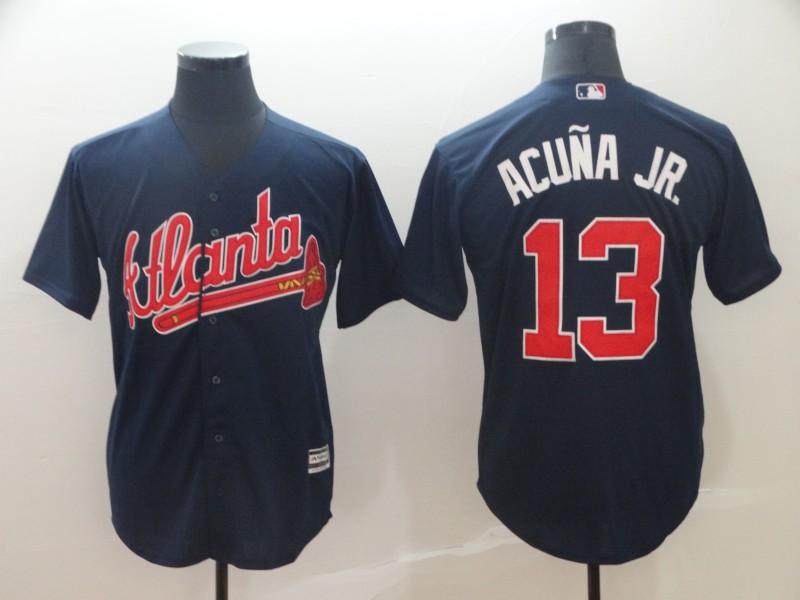 Braves 13 Ronald Acuna Jr. Light Navy Cool Base Jersey
