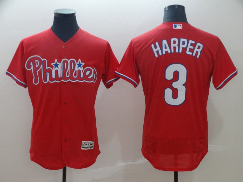 Phillies 3 Bryce Harper Scarlet Flexbase Jersey