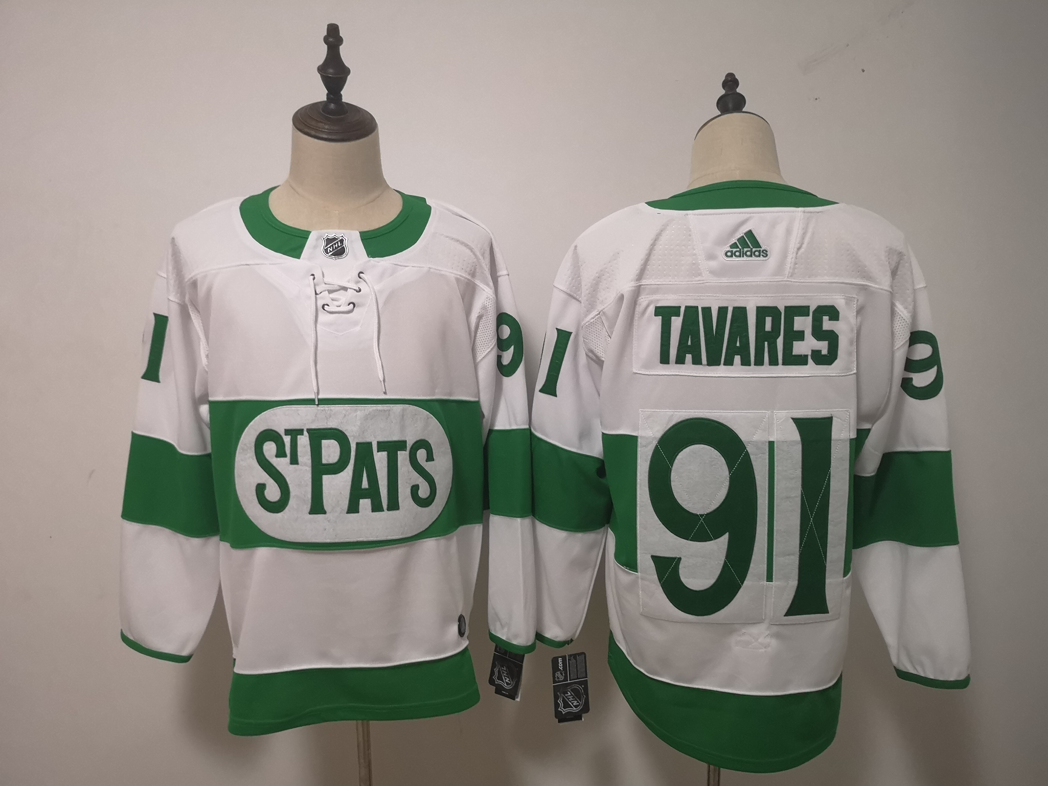 Maple Leafs 91 John Tavares White 2019 St. Patrick's Day Adidas Jersey