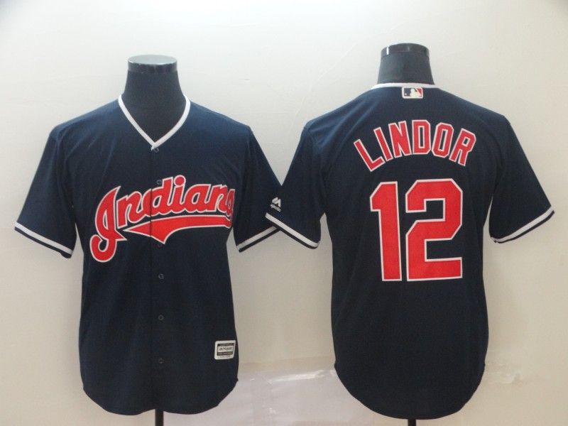 Indians 12 Francisco Lindor Navy Cool Base Jersey