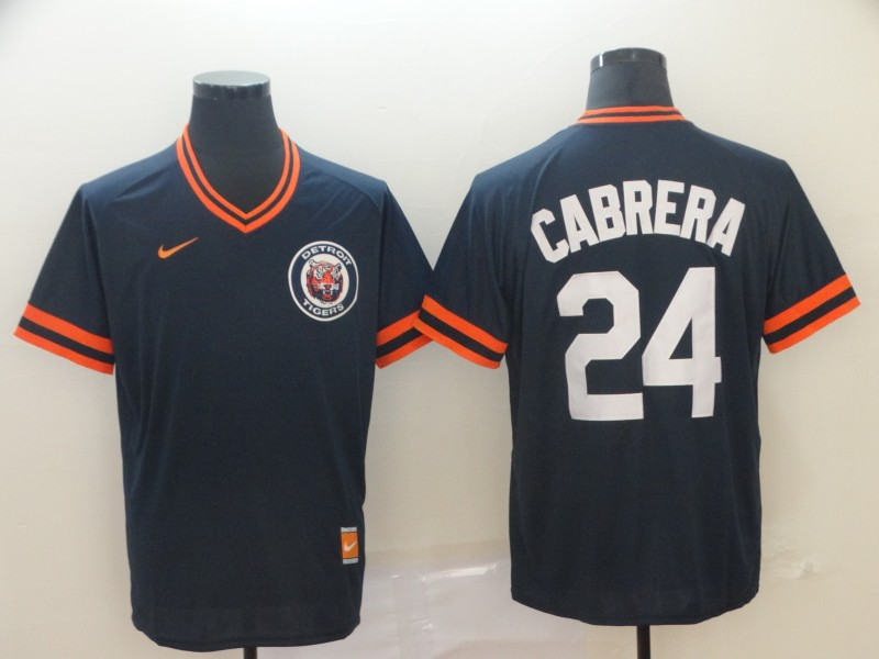 Tigers 24 Miguel Cabrera Navy Throwback Jersey
