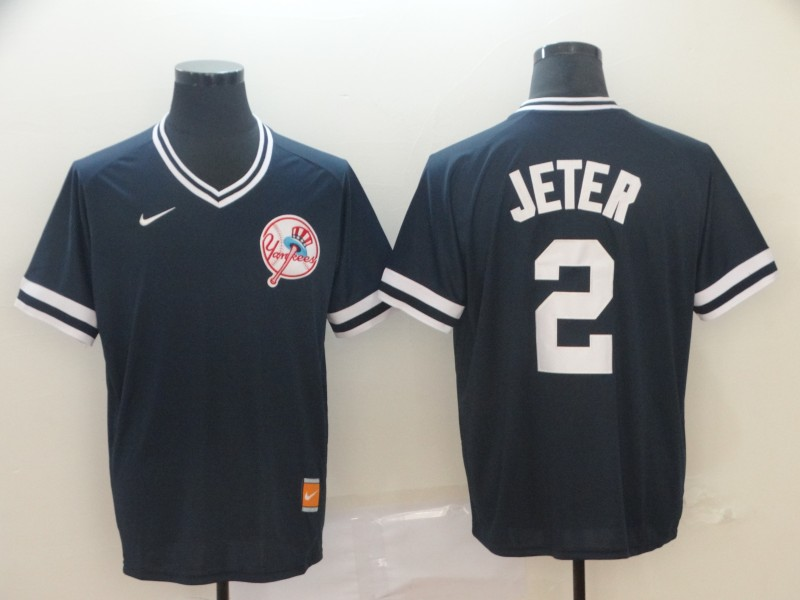 Yankees 2 Derek Jeter Black Throwback Jersey