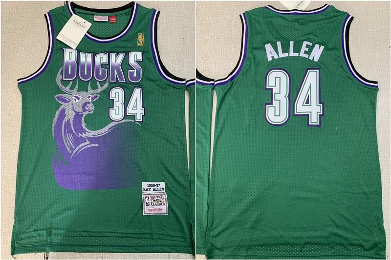 Bucks 34 Ray Allen Green 1996-97 Hardwood Classics Mesh Jersey