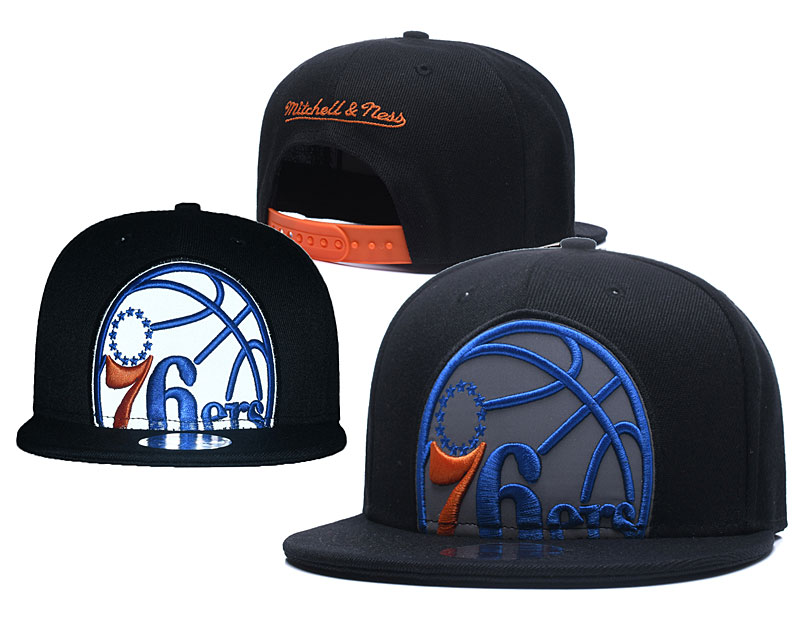 76ers Team Logo Black Mitchell & Ness Adjustable Hat GS
