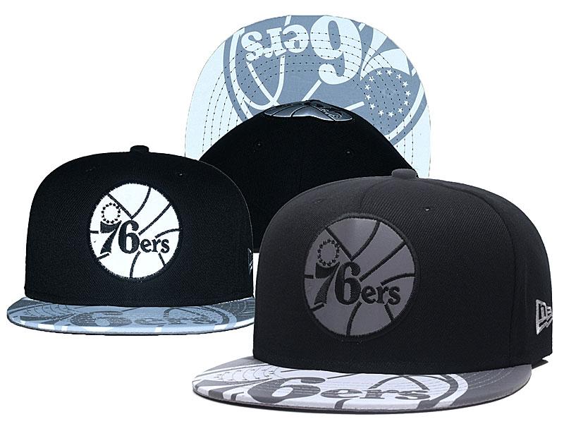 76ers Team Logo Black Silver Adjustable Hat GS