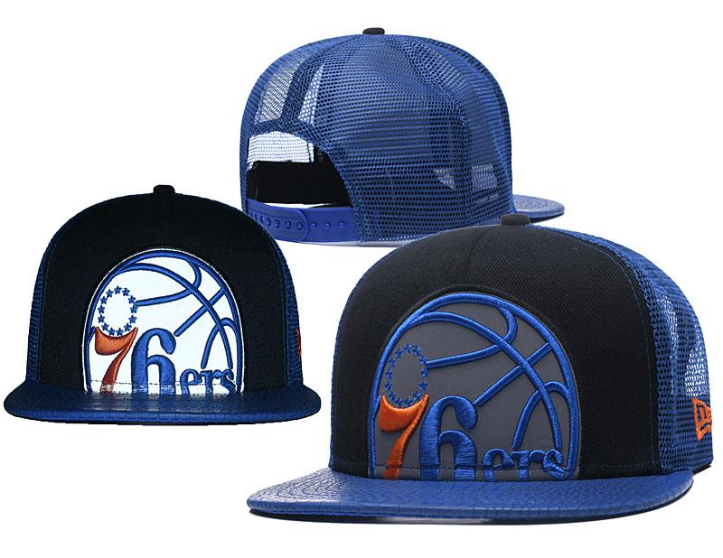 76ers Team Logo Blue Hollow Carved Adjustable Hat GS
