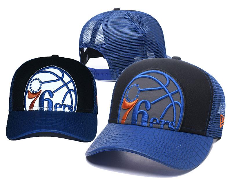 76ers Team Logo Blue Hollow Carved Peaked Adjustable Hat GS