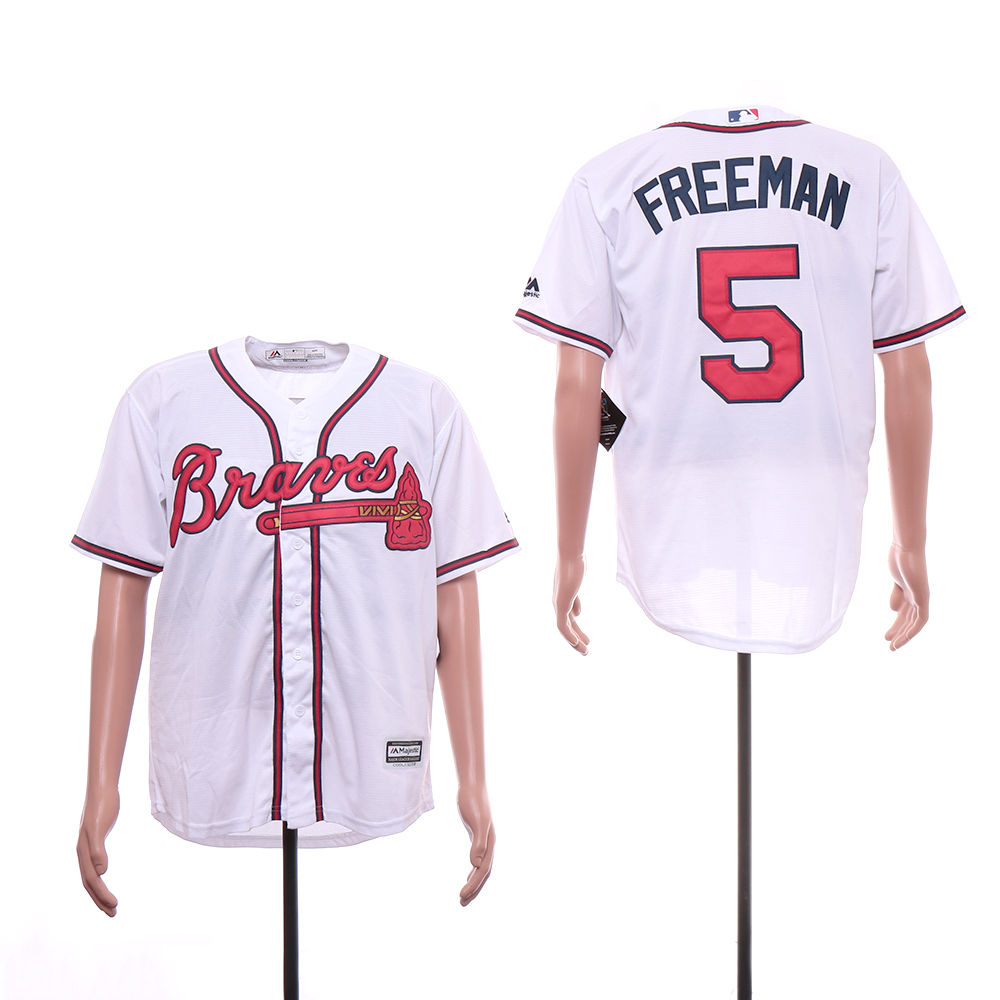 Braves 5 Freddie Freeman White Cool Base Jersey