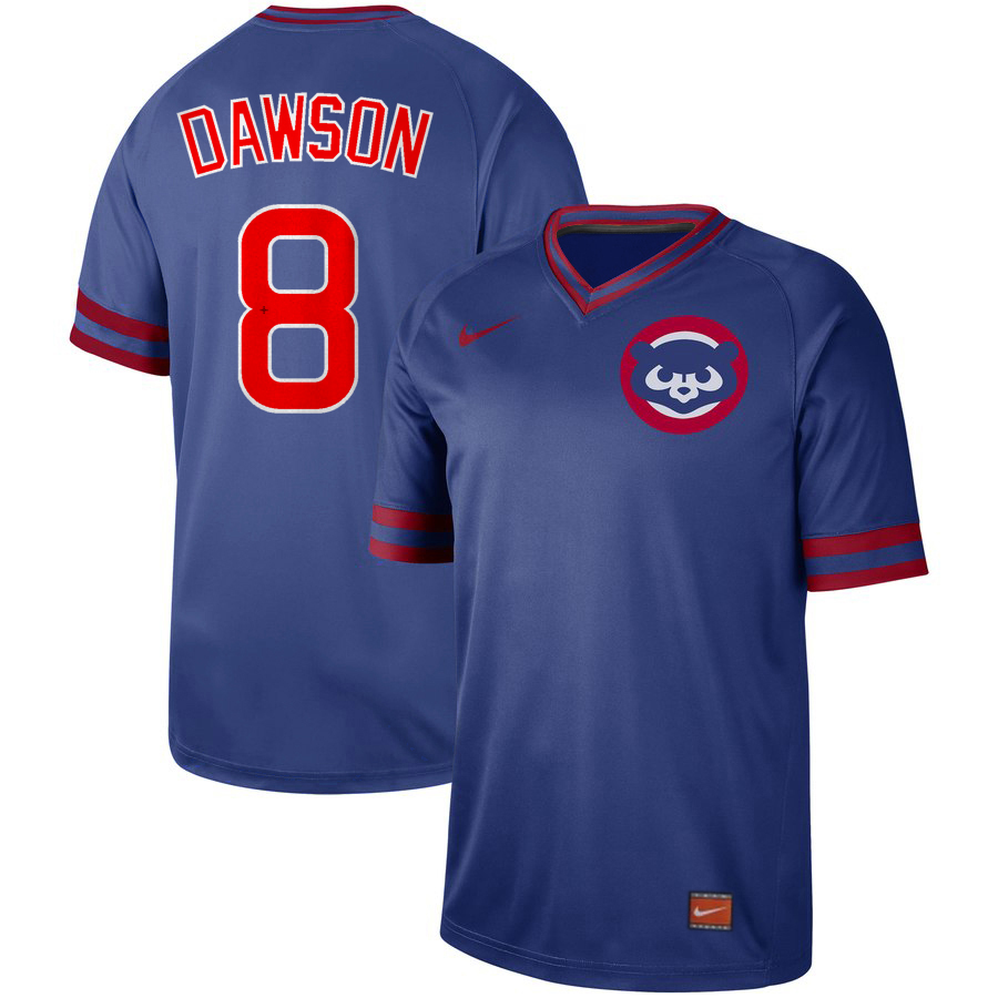 Cubs 8 Andre Dawson Blue Throwback Jersey