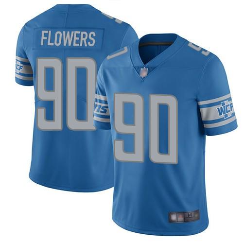 Nike Lions 90 Trey Flowers Blue Vapor Untouchable Limited Jersey