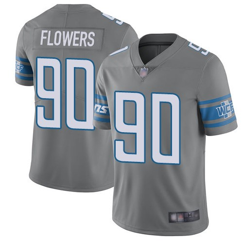 Nike Lions 90 Trey Flowers Gray Color Rush Limited Jersey