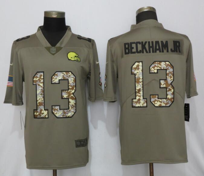 Nike Browns 13 Odell Beckham Jr Olive Camo Salute to Service Limited Jersey
