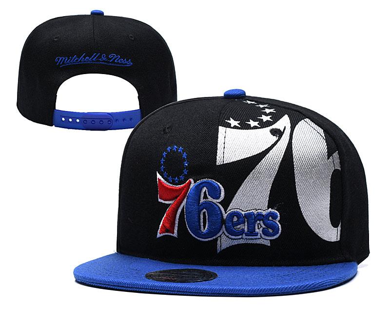 76ers Team Logo Black Mitchell & Ness Adjustable Hat YD