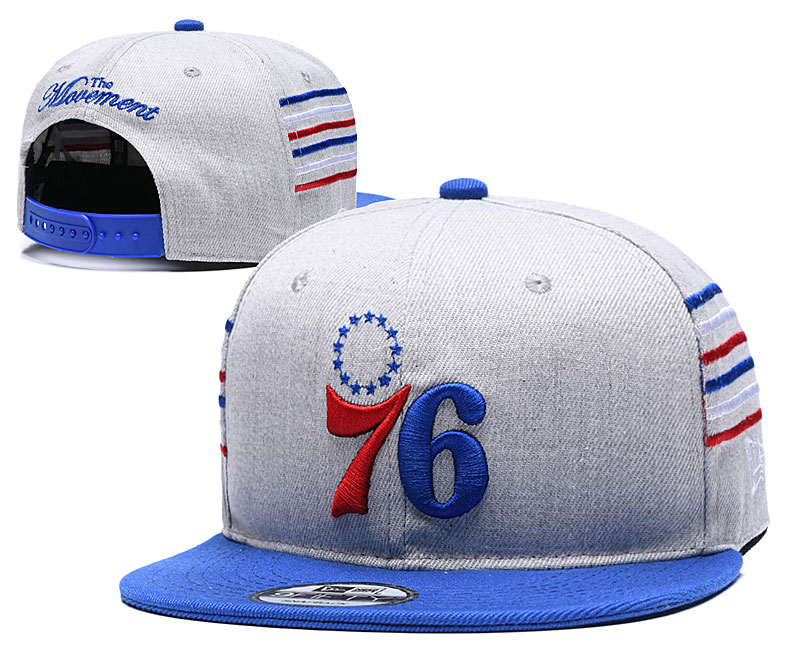 76ers Team Logo Gray Blue Adjustable Hat YD