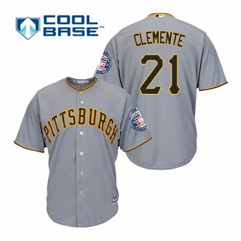 Pirates 21 Roberto Clemente Gray 2019 Hall of Fame Induction Patch Cool Base Jersey