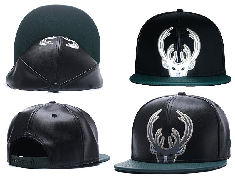 Bucks Team Logo Black Leather Adjustable Hat GS