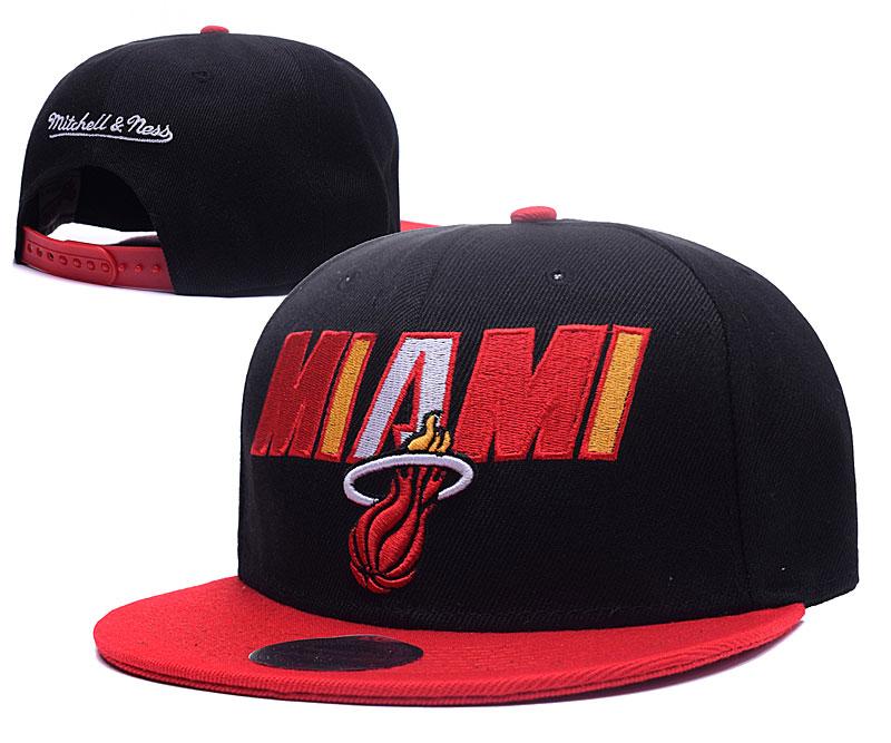 Heat Team Logo Black Red Mitchell & Ness Adjustable Hat GS