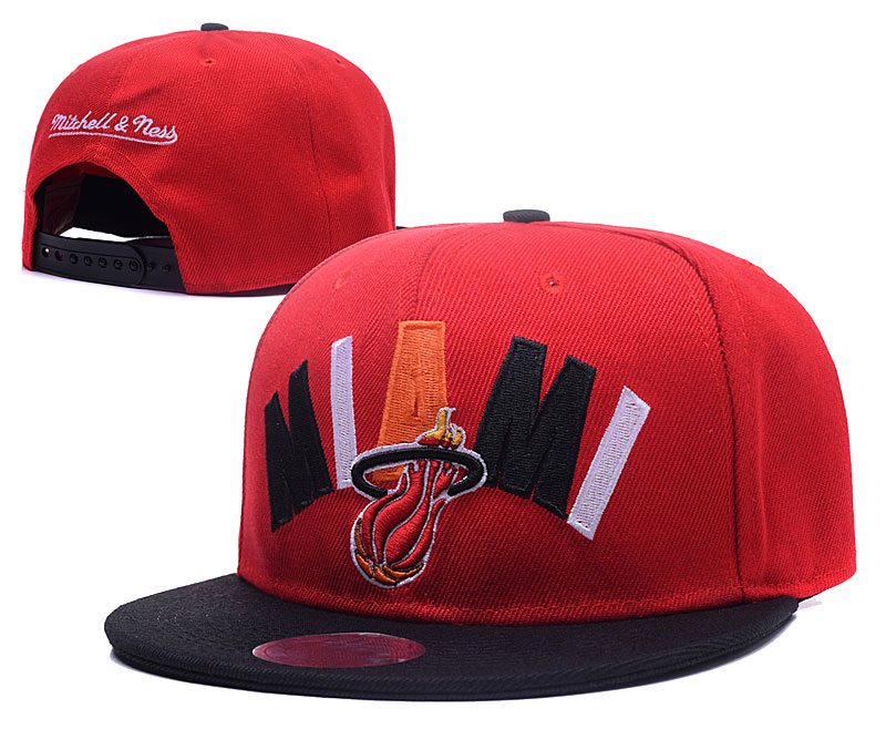 Heat Team Logo Red Black Mitchell & Ness Adjustable Hat GS