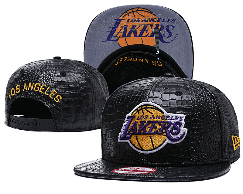 Lakers Fresh Logo Black Leather Adjustable Hat GS