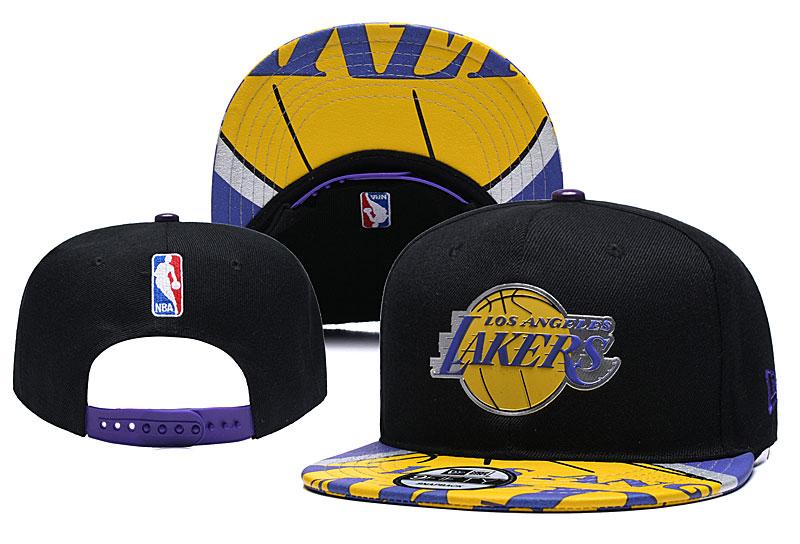 Lakers Team Logo Black Yellow Adjustable Hat YD