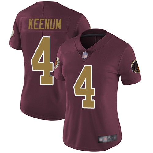 Nike Redskins 4 Case Keenum Burgundy Alternate Women Vapor Untouchable Limited Jersey
