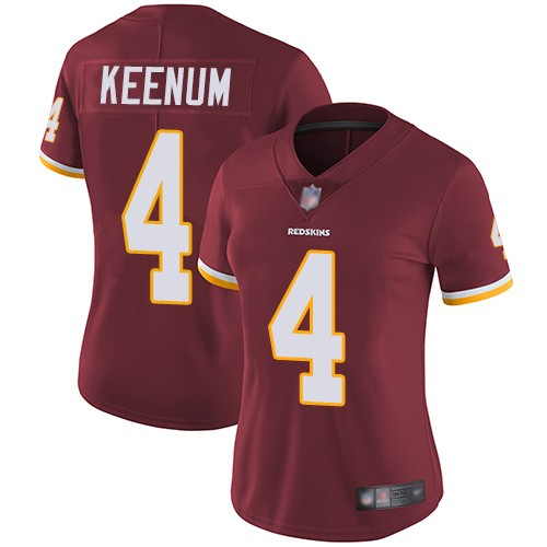 Nike Redskins 4 Case Keenum Burgundy Women Vapor Untouchable Limited Jersey