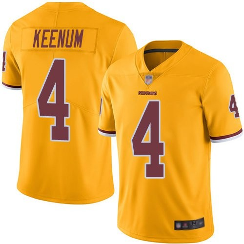 Redskins 4 Case Keenum Color Rush Gold Limited Jersey
